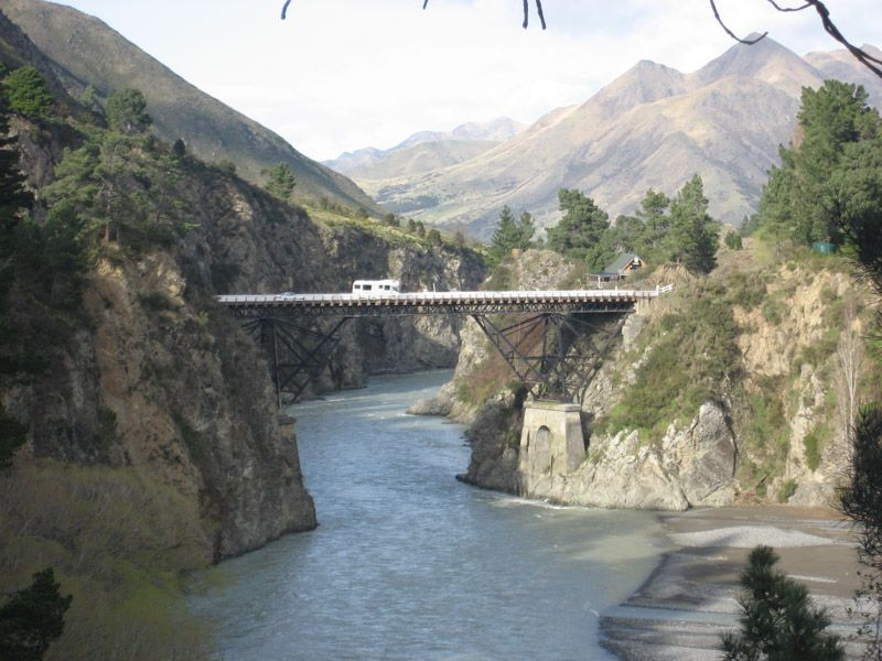 Driving the Pacific Horizons 6 Berth Camper Van over the bridge near Hamner Springs